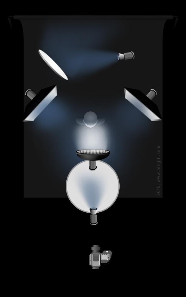 Конверсионный фильтр, фольга, снег, холодный свет, световая схема